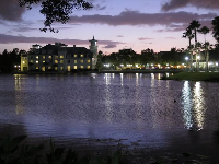 The lake and the Bohemian Hotel at night.