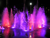 The splash pad across from Kilwin's is beautiful at night.