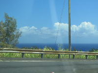 On Highway 19, driving past the Hamakua Coast.