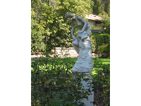 Sculpture in the rose garden.