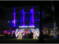 Cardozo Hotel and Christmas angel decorations.
