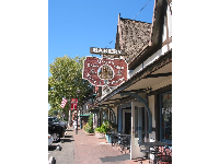 A bakery at the main strip of Solvang on Highway 246.