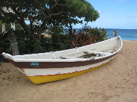 Boat and garden at the lifeguard stand at Waimea Bay.