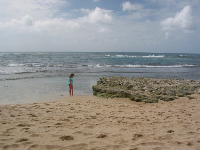A girl explores the shallow tidepools at Police Beach.