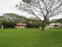 The deep green lawn at Na Pali Haweo Park.