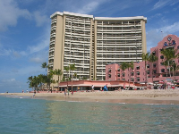 What a fantastic swim in the warm, warm water at Royal Hawaiian Beach! See the Sheraton Waikiki in the distance.