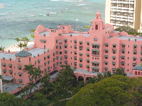 "The ""pink  hotel"" from above. Notice the amazing color of the water and of the old trees in the garden."