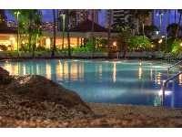 Nighttime view of the pool- evenings are so perfect in Hawaii!