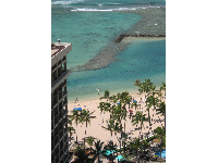 The beach as seen from the Tapa Tower at the Hilton Hawaiian Village hotel.