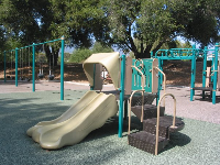 Play structure and swings.