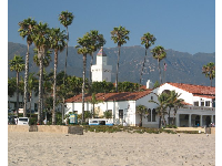 The Cabrillo Pavilion Bathhouse, where East Beach Grill is located. Behind it- the Radisson Hotel tower.