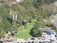 The little sheltered park at Hendry's Beach, as seen from Douglas Preserve.