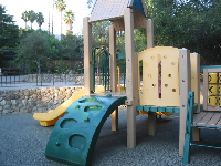 The playground and palm trees behind.