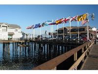 Colorful flags on the pier.