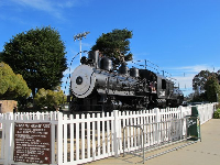 The railroad engine.