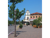 I love the Spanish-style tower, classic lampposts, and deciduous trees at Camino Real Shopping Center!