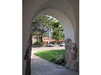 Archway at El Montecito Presbyterian Church. Listen to the bell chimes!
