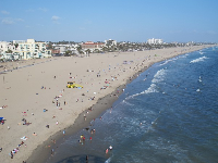 View of Santa Monica Beach from the ferris wheel.