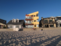 A wide array of architectural styles, along the boardwalk at Redondo Beach.