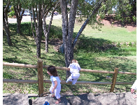 Imaginative games at the railing. Kids love steps.