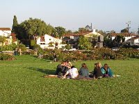 High school students sitting on the lawn, like they do in France.