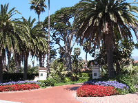 Beautiful entrance to the Biltmore, across from Butterfly Beach.