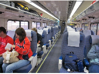 People often catch the train to Angel Stadium.