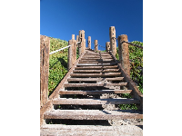 Wooden stairs that lead down to Jelly Bowl Beach. What a beautiful blue sky!