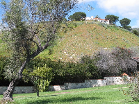 The interesting wall and hill behind.