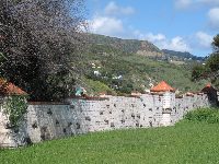 The yard and wall inlaid with stone.