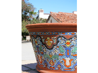 Pot with colorful tiles from the Malibu pottery.