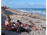 Students relaxing at Carlin Beach.