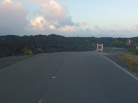 This is where lava flowed over the road in 2003!