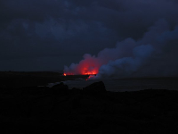 Red lava flowing into the sea, as seen from the 3rd marker where we stopped and stared in awe!