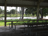 Picnic pavilion beside the playground with views of the lake.