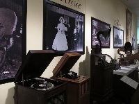 Exhibit of record players in the museum.