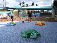 Turtle, starfish, and sting ray sculptures for kids to climb on- they love this!