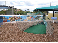 A fishing net with escape area where turtles can get out. Kids can climb in for fun.