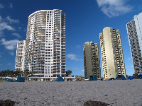 Highrises that give this beach a more cosmopolitan feel.
