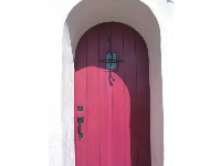 The red door at Cota Street Studios.
