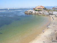 McAbee Beach and its colorful waters, below Cannery Row.