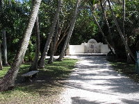 Palm-shaded path leading to fountain.