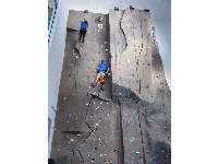 Rock-climbing wall in the Student Wellness recreation center.