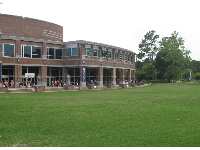 Large lawn where students can sun-tan.