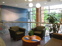 Lounge and large windows at the Marine Science building.