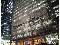 The shimmering New York Times building looks amazing at night! The square was named after the newspaper.