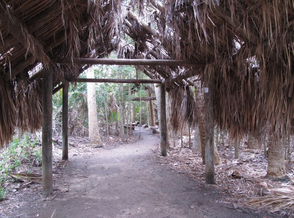 Recreation of an Indian hut, along the nature trail.