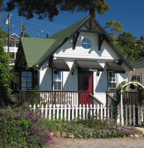 Little Victorian house-turned-spa in Summerland, on Lillie Avenue, the main strip.