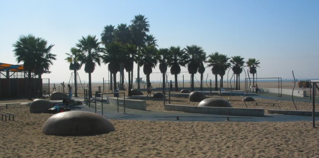 The old Muscle Beach, at Santa Monica pier.