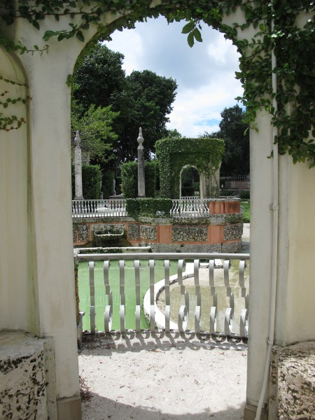 Looking through an archway in the garden.
